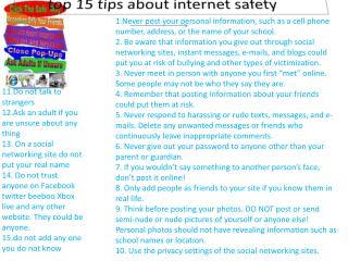 top 15 tips about internet safety