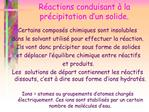 R actions conduisant   la pr cipitation d un solide.