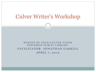 Culver Writer's Workshop