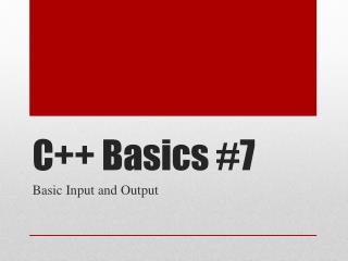 C++ Basics #7