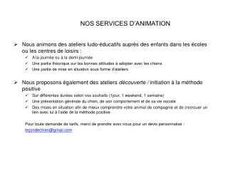 NOS SERVICES D'ANIMATION