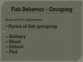 Fish Behavior  - Grouping