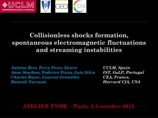 Collisionless shocks formation, spontaneous electromagnetic fluctuations