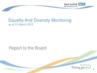 Equality And Diversity Monitoring as at 31-March-2012