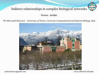 Indirect relationships in complex biological networks Ferenc  Jord�n