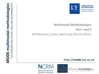 MODE  multimodal methodologies FOR RESEARCHING DIGITAL DATA AND ENVIRONMENTS  One
