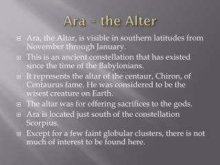 Ara  � the Alter