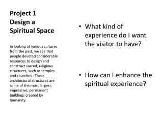 Project 1 Design a Spiritual Space