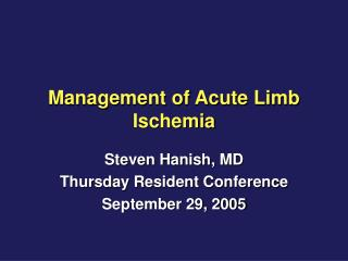 Management of Acute Limb Ischemia