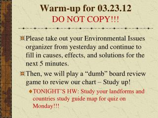 Warm-up for 03.23.12 DO NOT COPY!!!