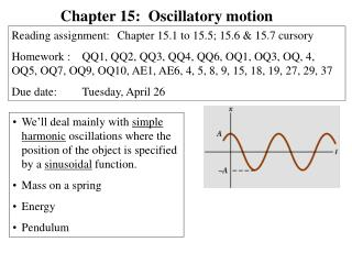 Chapter 15:  Oscillatory motion