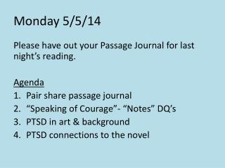 Monday 5/5/14