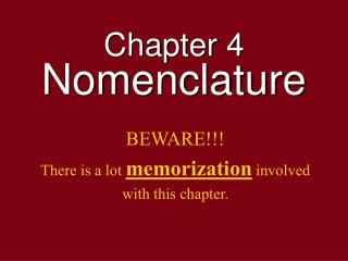 Chapter 4 Nomenclature