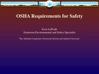 OSHA Requirements for Safety
