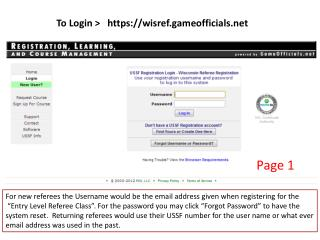 To  Login >    https://wisref.gameofficials