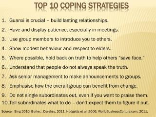 Top 10 coping strategies