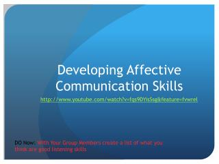 Developing Affective Communication Skills