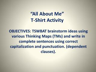 """ All About  Me"" T-Shirt Activity"