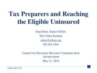 Tax Preparers and Reaching the Eligible Uninsured