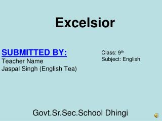 SUBMITTED BY: Teacher Name  Jaspal  Singh (English  Tea)