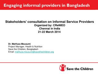 Engaging informal providers in Bangladesh