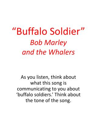 """Buffalo Soldier"" Bob Marley  and the Whalers"