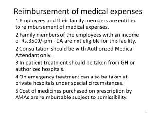 Reimbursement of medical expenses