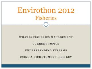 Envirothon 2012  Fisheries