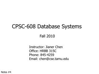 CPSC-608 Database Systems
