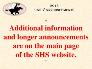 2013  Daily Announcements
