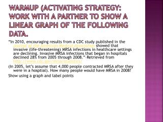 Warmup  (activating strategy: Work with a partner to show a linear graph of the following data.