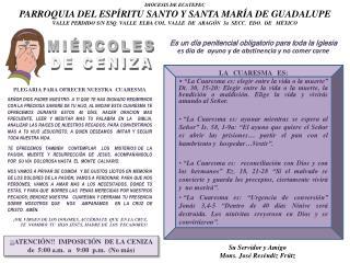DIÓCESIS DE ECATEPEC PARROQUIA DEL ESPÍRITU SANTO Y SANTA MARÍA DE GUADALUPE