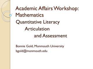 Academic Affairs Workshop:
