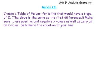 Unit 5: Analytic Geometry