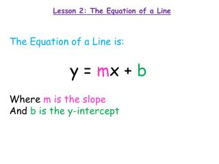 Lesson 2: The Equation of a Line