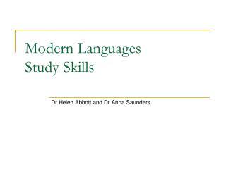 Modern Languages Study Skills