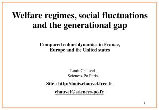 Welfare regimes, social fluctuations and the generational gap Compared cohort dynamics in France,  Europe and the United