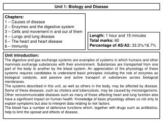 Unit 1: Biology and Disease
