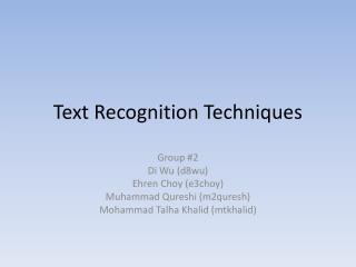 Text Recognition Techniques