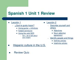 Spanish 1 Unit 1 Review