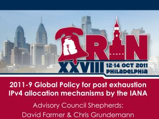 2011-9 Global Policy for post exhaustion IPv4 allocation mechanisms by the IANA