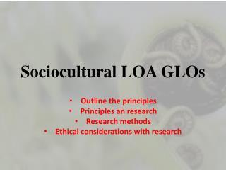 Sociocultural LOA GLOs