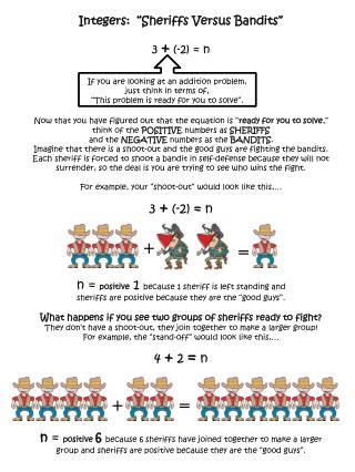 "Integers:  ""Sheriffs Versus Bandits"" 3  +  (-2) = n"
