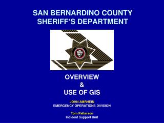 SAN BERNARDINO COUNTY  SHERIFF�S DEPARTMENT