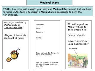 Medieval Menu