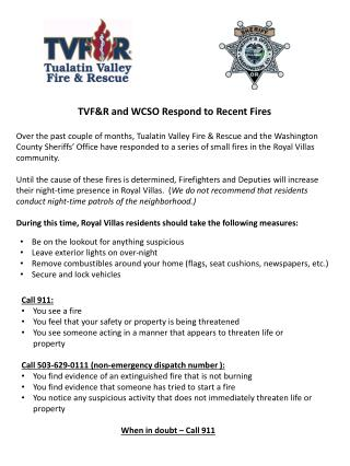 TVF&R  and WCSO Respond  to Recent Fires