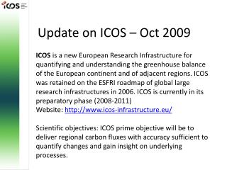 Update on ICOS – Oct 2009