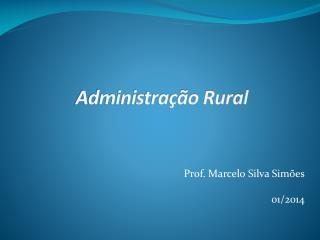 Prof. Marcelo Silva Simões 01/2014