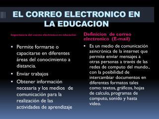 EL CORREO ELECTRONICO EN LA EDUCACION