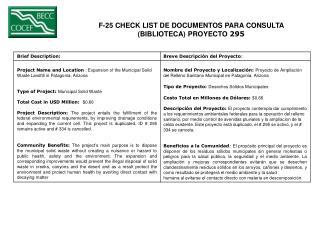 F-25 CHECK LIST DE DOCUMENTOS PARA CONSULTA  (BIBLIOTECA) PROYECTO  295